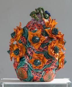 Grande urne aux fleurs soleils
