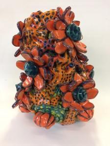 Vase aux fleurs lotus oranges
